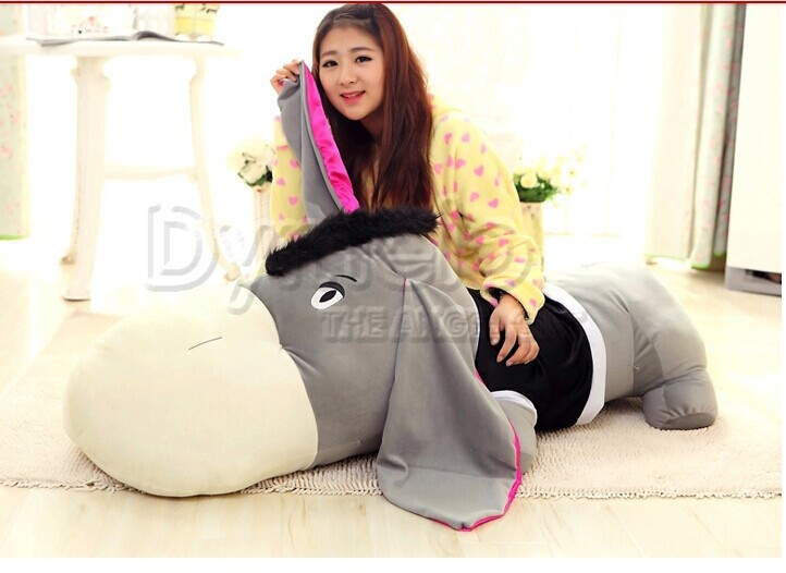 huge 140cm prone coat donkey plush toy hugging pillow ,birthday gift d5539(China (Mainland))