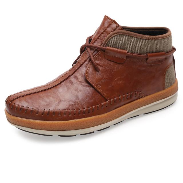 Осень весна стиль мужчины из натуральной кожи ботильоны удобные slip on мода сапоги ...