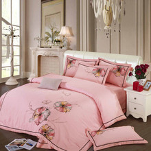 S&V New Arrival 100% COTTON needlework Bedding sets Chinese wedding bedclothes Pink High-grade embroidered duvet cover bed sheet(China (Mainland))