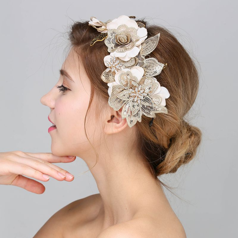 Baroque Hair Jewelry Wedding Party Leaves Crystal Pearl Headbands White Flower Head Piece Bride Vintage Hair Jewelry Accessories