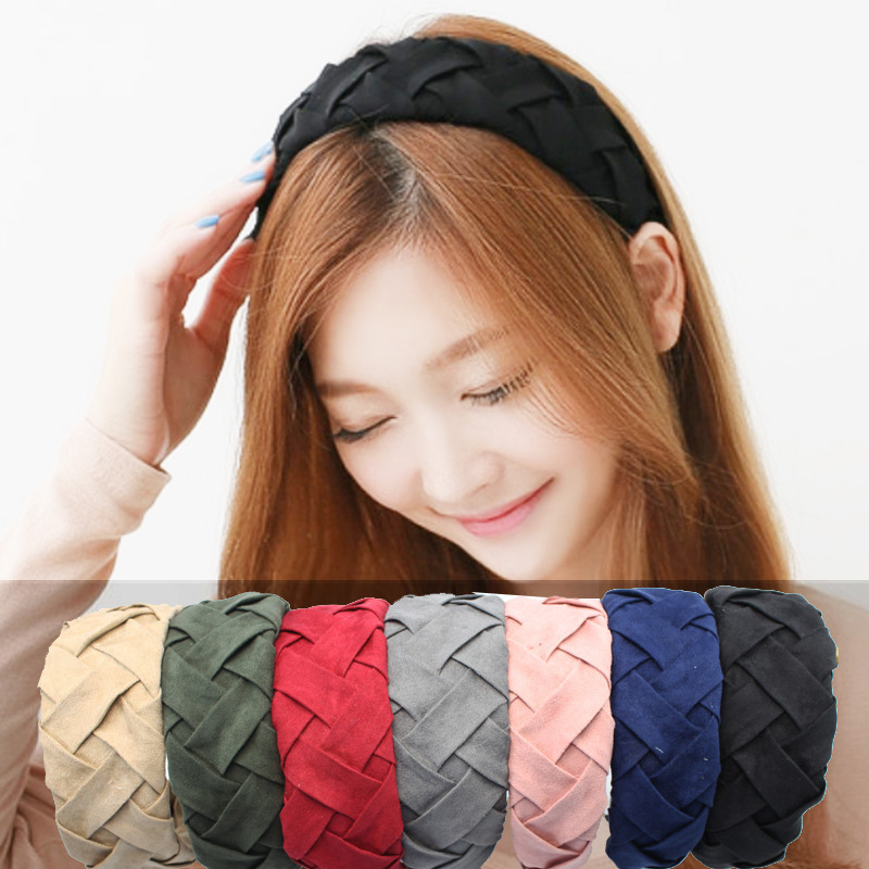 2016 New Fashion Wide Fabric Headband Women's Quality Braided Hairband Solid Mixed Colors Sweet Laides Hair Ornaments(China (Mainland))