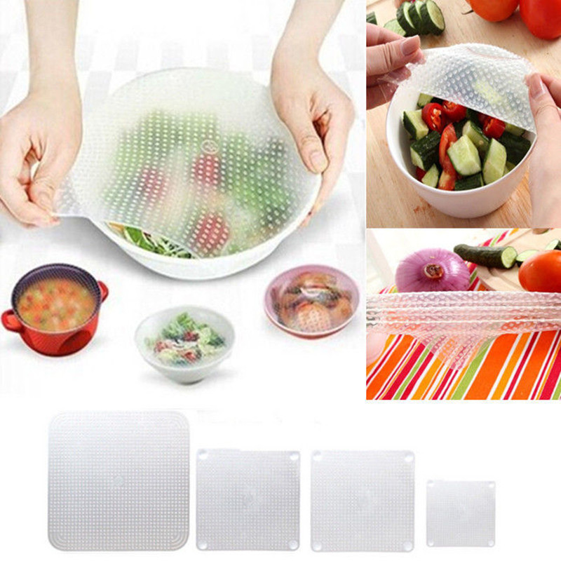 Multifunctional Silicone Food Seal Cling Film Vacuum Keep Food Fresh Plastic Wrap Preservative Film For Refrigerator,4pcs(China (Mainland))