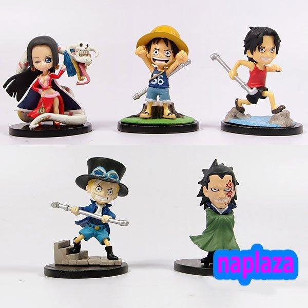 "Free shipping Anime One Piece  3.2"" PVC MONKEY D LUFFY Boa Hancock Ace Sabo Action Figure toy in box( 5 pcs/set )"