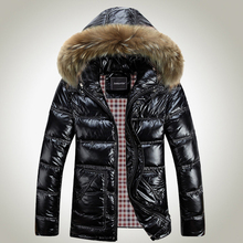 Winter Jacket Men Down Jacket 2016 White Duck Down Thick Coat Hood Natural Pure Fur Collar Plus Size 6XL Windproof Parka HJ271(China (Mainland))