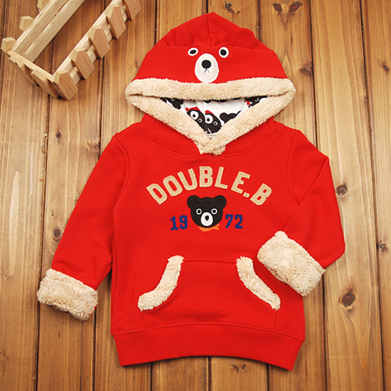 [90-120cm]Little Kids Clothes Winter Boys Girl Hoodies THICK Long Sleeve Sweatshirts Hooded Pullover Children Clothing Character(China (Mainland))