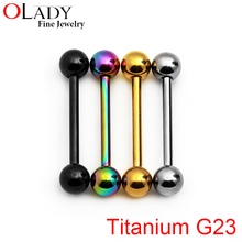 Tongue Rings Balls 14G [100% Titanium G23] Piercing Body Jewelry Nipple piercing(China (Mainland))