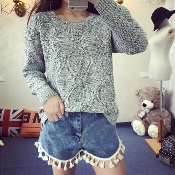 2015 весна зима мода женщин о-образным вырезом твердые плед витая пуловеры свитер ...