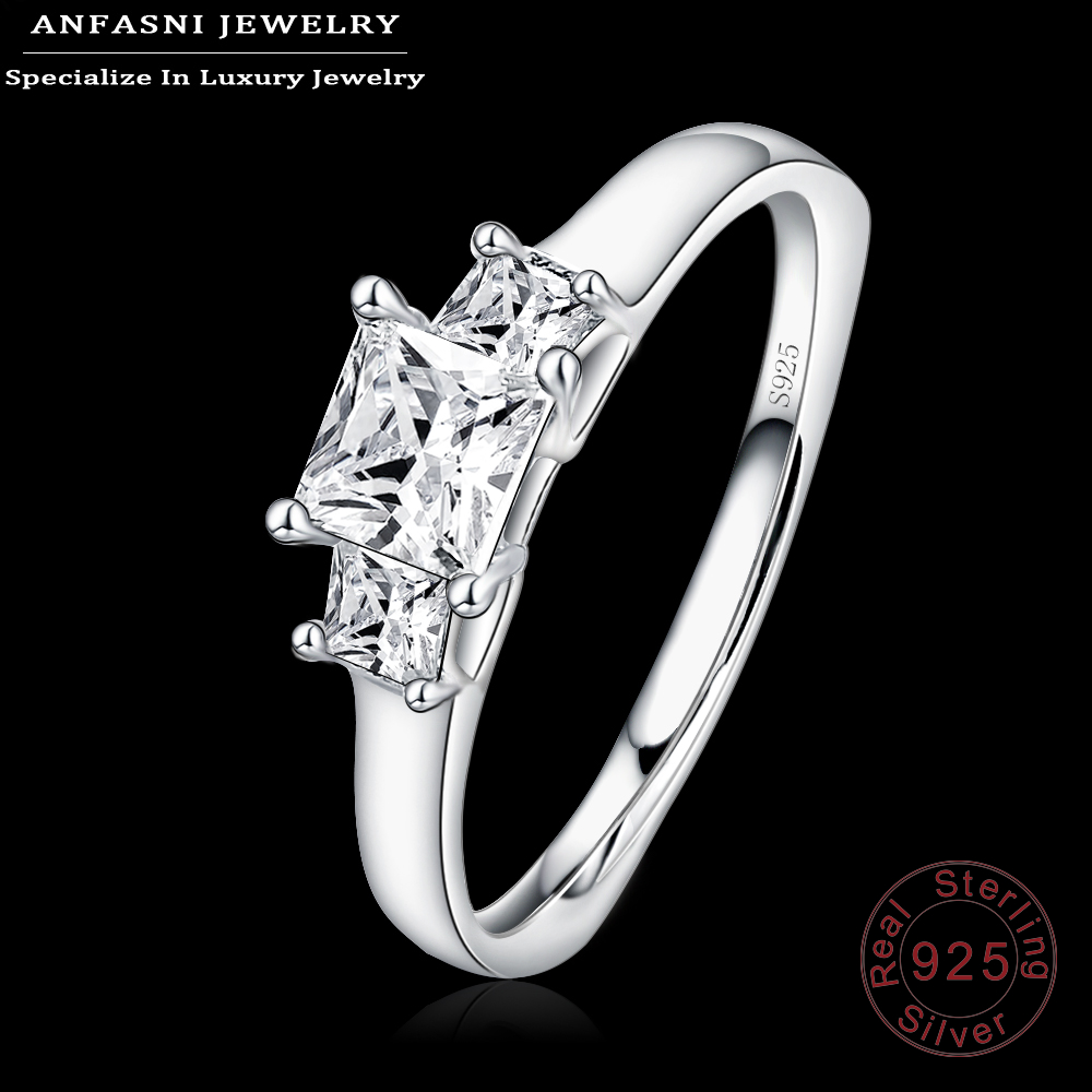 ANFASNI 925 Sterling Silver Simple Style Finger Rings With Clear CZ Diamond Wedding/Engagement Ring Jewelry For Women SRI0053-B(China (Mainland))