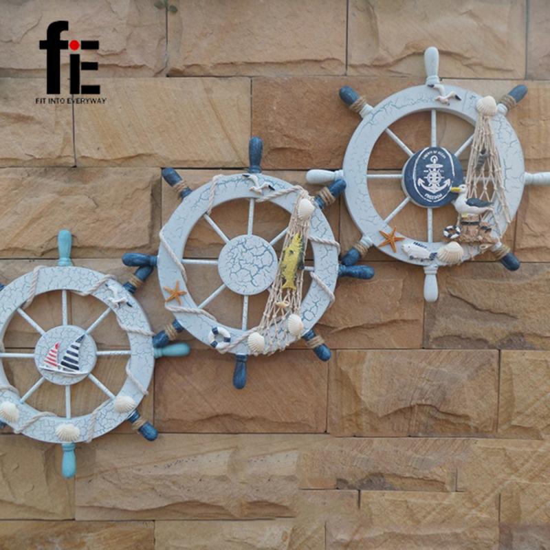 28CM Mediterranean Style Large Marine Rudder Wall Decoration Wood Nautical(China (Mainland))