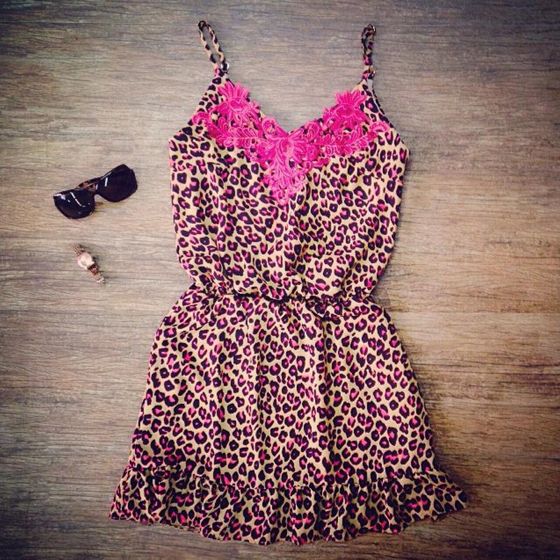 Vestidos Femininos 2015 Summer Style Fashion Sexy Ladies Lace Pink Leopard Suspender Dress Sweet Women Dress Vestido De Festa(China (Mainland))