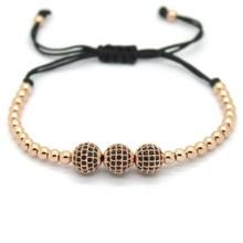 Anil Arjandas Famous Brand Women Bracelets 8mm Pave Setting Black CZ Bead 18K Rose Gold 4mm Round Bead Braiding Bracelet For Men(China (Mainland))