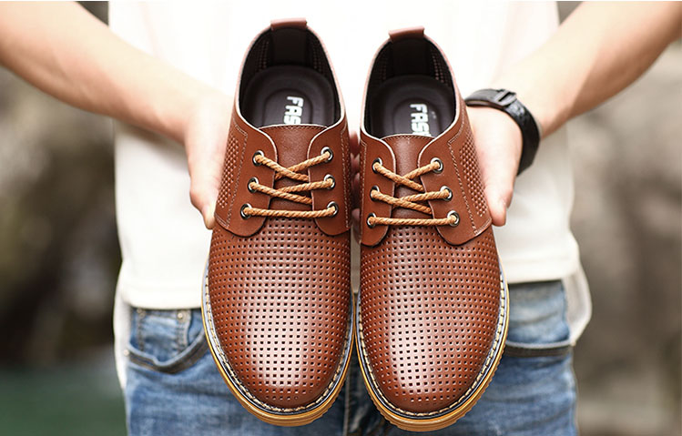 new 2016 men oxfords pointed toe genuine leather cut outs breathable casual shoes business shoes plus size 39-46(China (Mainland))