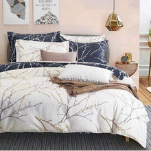 North American 3D Tree Branch Bedding Sets Twin Full Queen King Size Luxury Duvet Cover Pillowcase Home Decoration Beige gray(China)