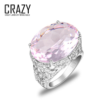 CRAZY Fashion Design Women Size 7 8 9 Beautiful Pink Topaz Crystal Rings Perfect Jewelry 925 Silver Luxury Party Rings R0089