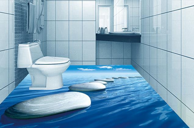 Custom photo floor wallpaper 3d stereoscopic 3d bathroom for Bathroom 3d wallpaper