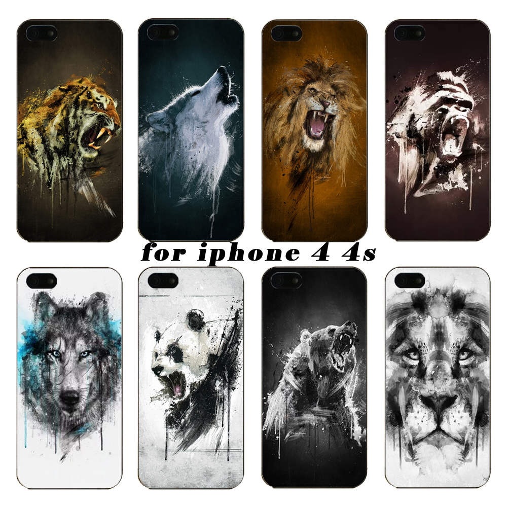 Under the latest tiger watercolor animal orangutan on wolf protection shell the for iPhone4 4S phone cases,Free shipping(China (Mainland))