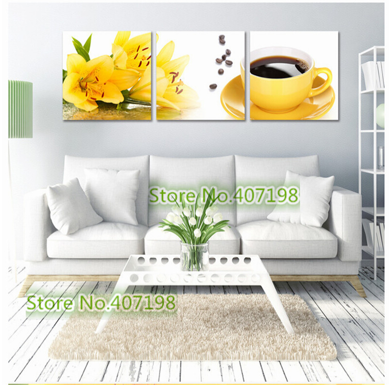 Flower Coffee triptych 3D diy diamond painting square full Rhinestone pattern Needlework Mosaic Diamond embroidery Home crafts(China (Mainland))