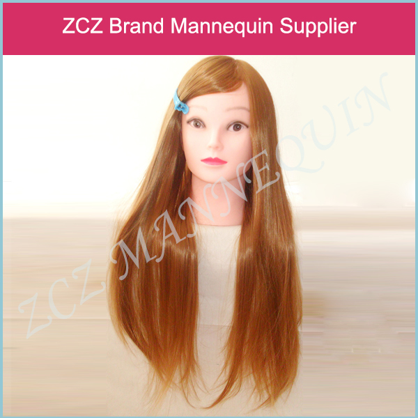 ZCZ Professional 30% Real Human Hair Doll Mannequin Training Head Tools Braiding Cutting Student Practice Model with Clamp MT260(China (Mainland))