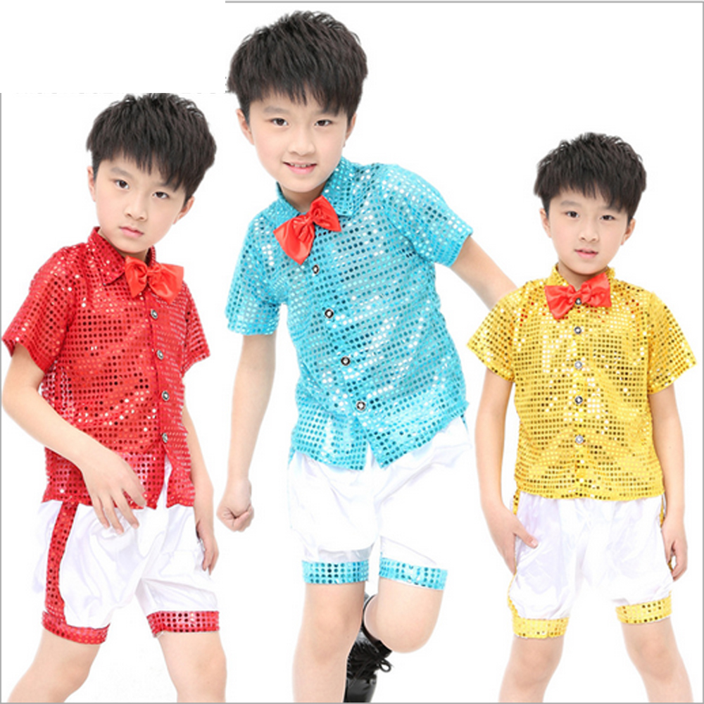2016 new unisex children's show performance clothing sequins modern jazz stage clothes red tie chorus boys girls wear sets - Children Performance Clothing store