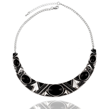 Free Shipping Min Order $10 (Mix Order) 2013New Fashion Ethnic  Women Silver Plated Black Punk Acrylic Choker Necklace Jewelry
