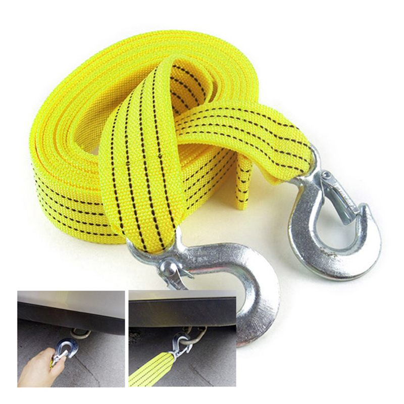 Hot Sale 3 Tons Car Tow Cable Towing Strap Rope with Hooks Emergency Heavy Duty Car Styling CSL2017(China (Mainland))