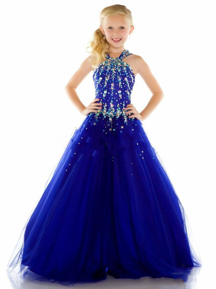 Girls Pageant Dresses 2016 Ball Gown Halter Royal Blue Crystals Rhinestones Cute Little Flower Girl Dresses For Wedding(China (Mainland))