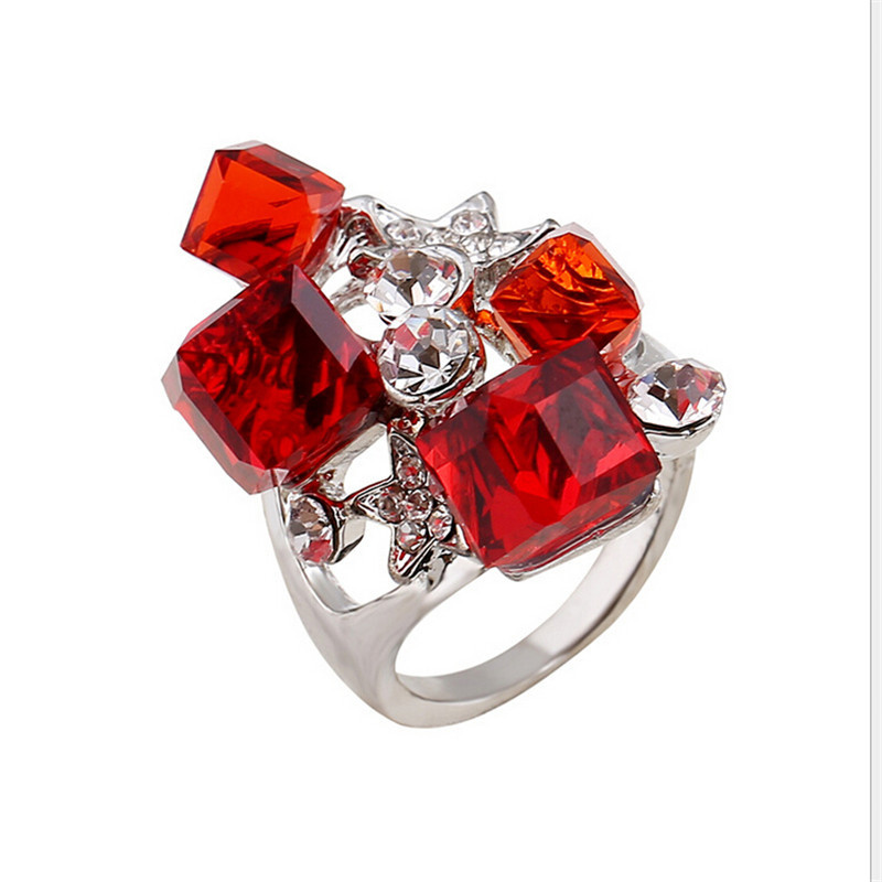 Ruby ring 2015 new sterling silver rings for women white black austrian crystal anillos ladies charm