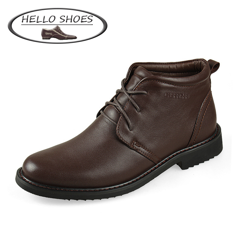 New 2015 HELLO SHOES Brand Autumn Winter Boots, Men Ankle Boots, Fashion Leather Boots, Genuine Leather Men Boots(China (Mainland))