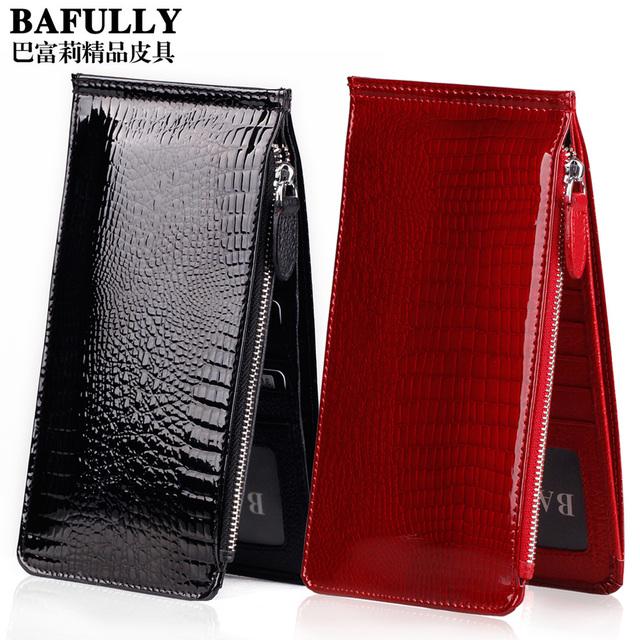 Japanned leather long design women's card holder multi card holder bank card holder card case cowhide women's clip female wallet