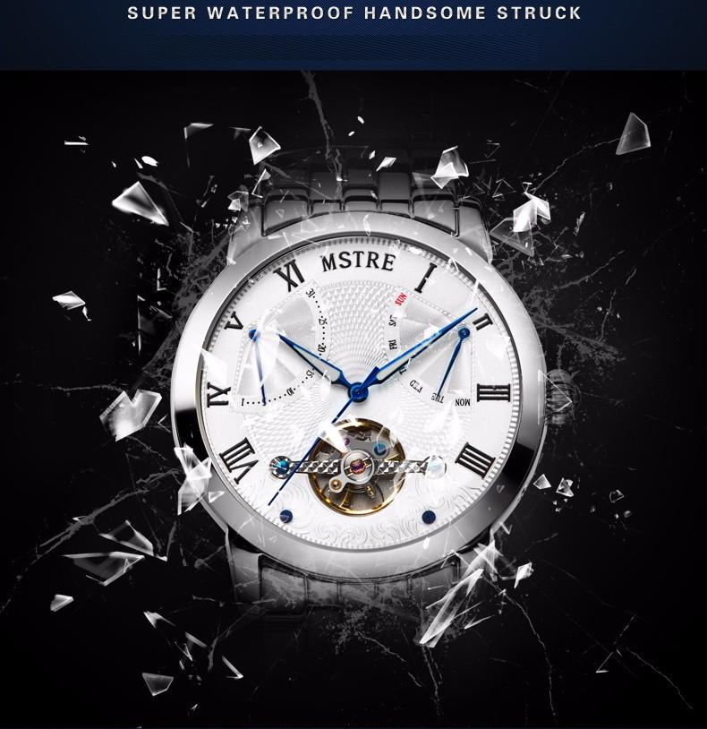Марка Классический Роскошный Бизнес Часы мужские Автоматические Самостоятельно ветер Наручные Часы Из Нержавеющей Стали Tourbillon Сапфир Водонепроницаемый 100 М
