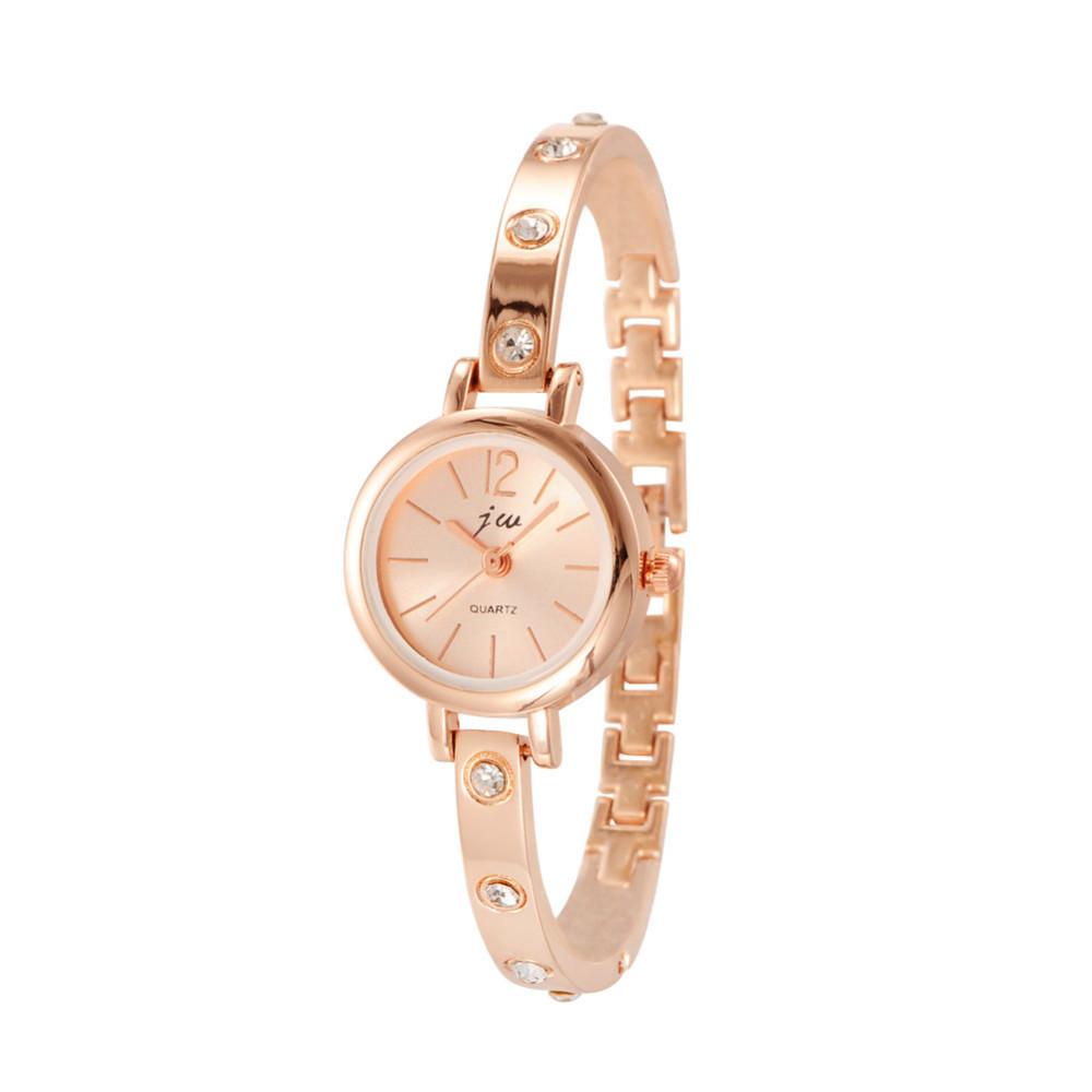 Charming Alloy Rhinestone Bracelet Watch Women Rose Gold Quartz Wristwatches for Ladies hour clock relogio feminino(China (Mainland))