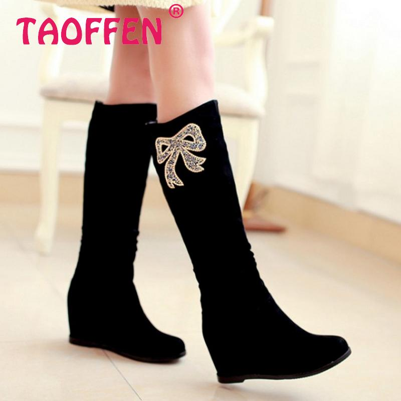 CooLcept Free shipping over knee high heel wedge boots women snow fashion winter warm footwear shoes boot P15050 EUR size 34-39<br><br>Aliexpress