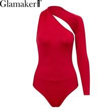 Glamaker сексуальный на одно плечо с открытой спиной женский боди-костюм Открытое боди с длинными рукавами весенние черные женские вечерние Кл...(China)