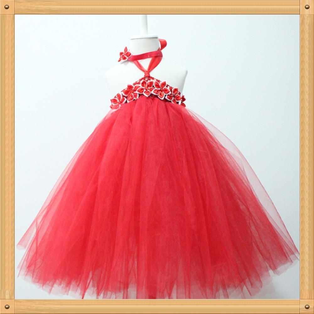 Girls dresses fluffy long red tutu dress girl party dress christmas