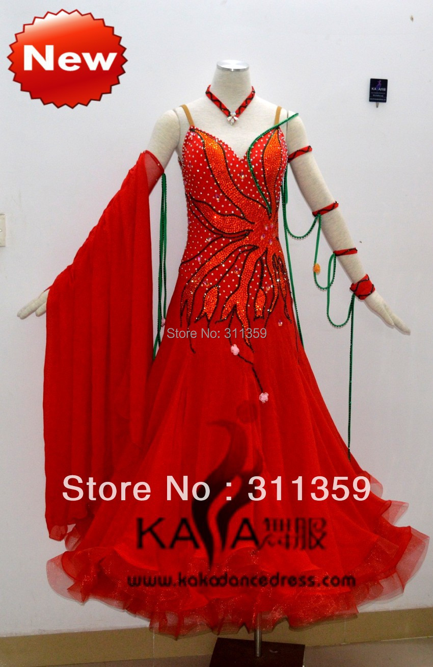 KAKA DANCE B1360,Red Chifoon Color Ballroom Standard Dance Dress,Waltz Dance Competition Dress,Women,Girl,Ballroom Dance DressОдежда и ак�е��уары<br><br><br>Aliexpress
