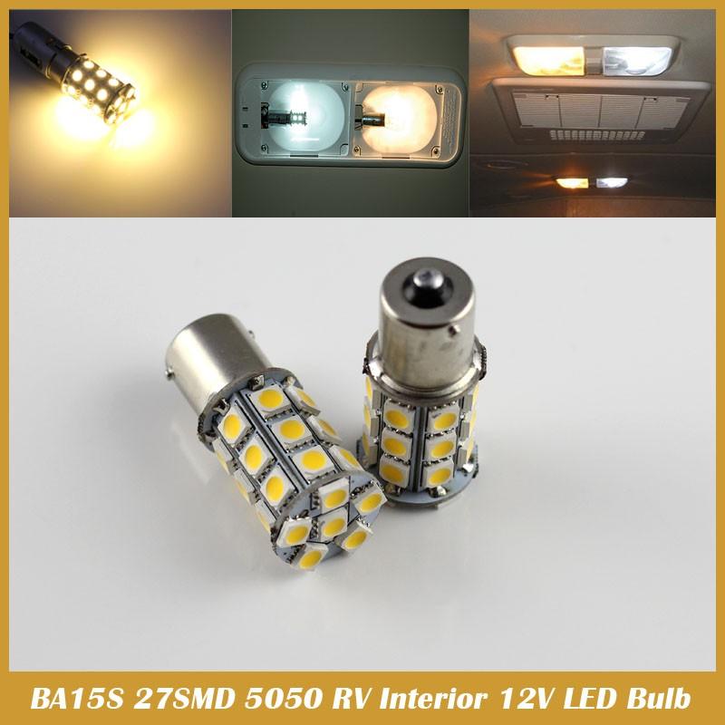 1158 BA15D BA15S BAU15S 27SMD 5050 Warm White RV LED Interior Dome Light car styling Bulb(China (Mainland))