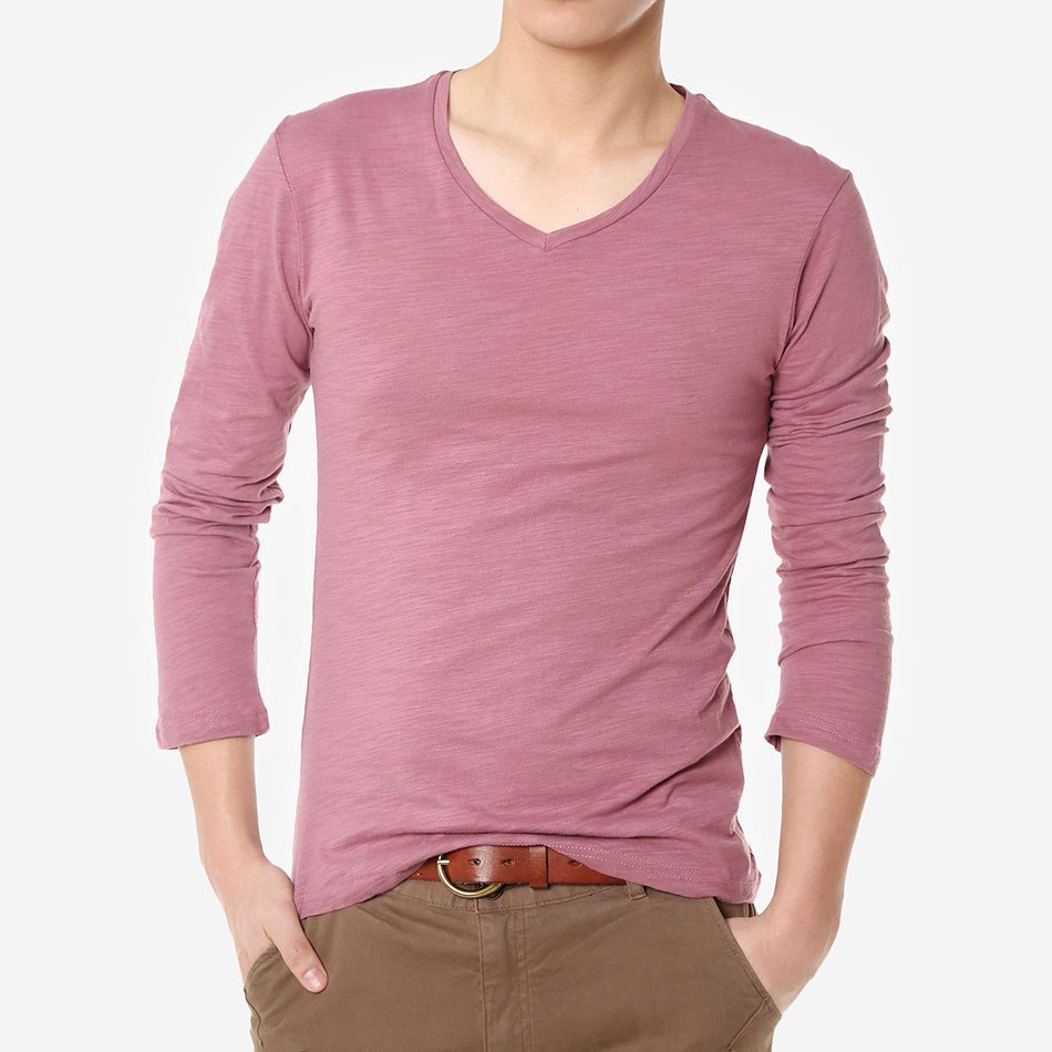 Cool Men Long Sleeve T Shirt Summer Fitted Tops Basic Simple Tee Shirt Plain Home Clothes New Stylish 40% Off(China (Mainland))