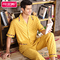 Short Sleeve Summer Men Pajama Sets Cotton Yellow Pyjamas Male Sleepwear Casual Polka Dot Homewear Turn