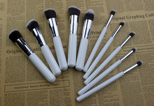 Free shipping 1 set with 10pcs white with silver  make up  brushes professional high quality  blending flat angled round  makeup