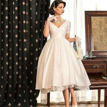 Buy Vintage Short Wedding Dress 2017 Vintage V-neck Short Sleeves Pleat Lace Tea Length Bridal Gown Vestidos De Novia 2017 W252 for $164.05 in AliExpress store