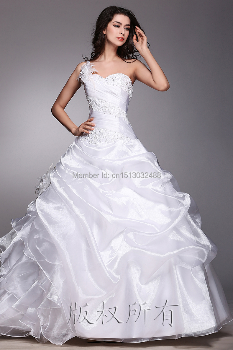 Cheap price 2015 a line strapless train white ivory for Cheap ivory wedding dresses