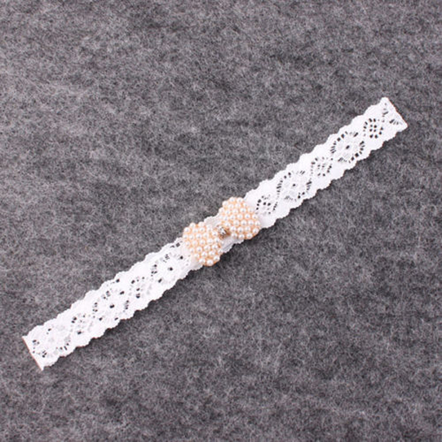 1 PC Baby Girls Newborn Infant Lace Pearl Mini Bow Headband Lace Diamond Hairband With Hair Bow Kids Boutique Hair Accessories