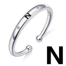 Bamoer Unisex srebrny 925 Sterling list pierścienie dla kobiet mężczyzn A-Z 26 Resizable początkowa alfabet biżuteria kobiece akcesoria SCR544(China)