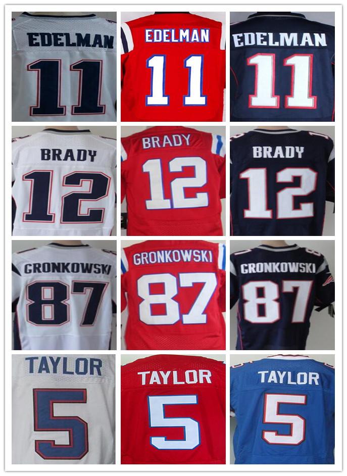 Mens 5 Yaylor #12 Brady # 87 Gronkowski #11 Edelman 25 Mccoy 14Watkins red white blue Jersey 100% Stitched(China (Mainland))