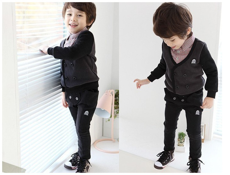 Free shipping!2014 new fashion children clothing set/baby wear/kid's cloth/baby boy overall/british style clothe+trouser(China (Mainland))