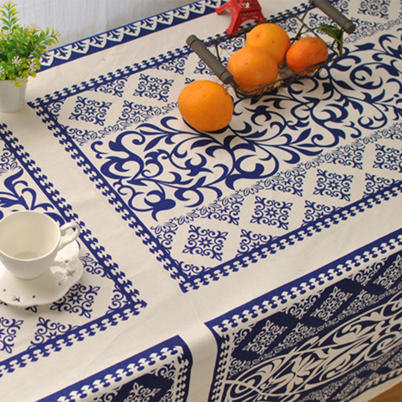 Classic Rectangular Lace Table Cloth Dustproof Blue White Printed Cotton Linen Table Cloth Restaurant Wedding Table Covers Hot(China (Mainland))