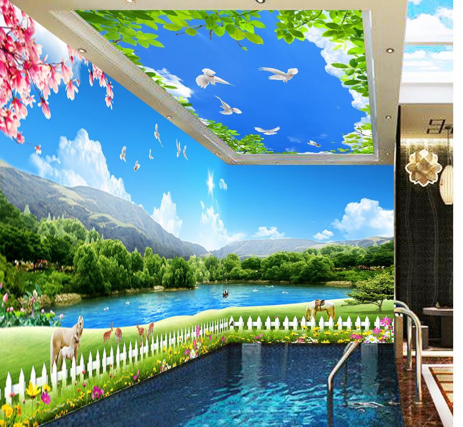Landscape wallpaper murals Grass lake sky space theme 3d wallpaper mural Home Decoration(China (Mainland))