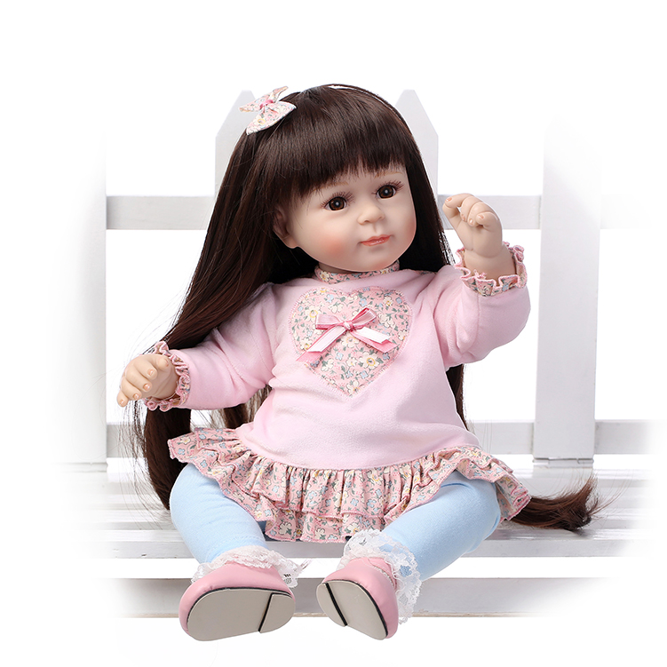 Realist girl dolls toys 52CM size silicone reborn boneca brown long hair baby alive toys for kids