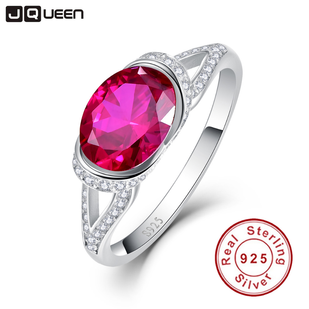 2ct 925 Sterling Silver Rings Platinum Plated AAA Crystal Big Oval Ruby Ring for Women Wedding Bride Jewelry(China (Mainland))