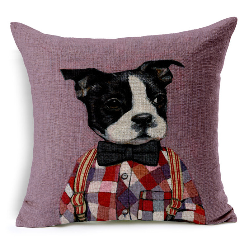 High Quality Invisible Zipper Linen Cushion Cover Pillow Cover Lovely Pet Dog Cat Animal Printed Pillowcase
